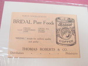 1923 Ad Bridal Pure Foods Bridal Coffee Philadelphia