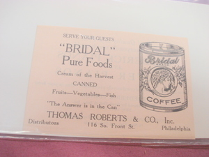 1924 Ad Bridal Pure Foods Bridal Coffee