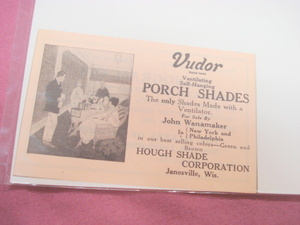 1923 Ad Vudor Porch Shades Hough Shade Janesville, Wis.
