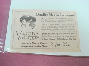 1923 Venida Hair Net Ad The Rieser Company New York