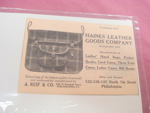 1923 Ad Haines Leather Goods Company Philadelphia