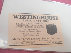 1924 Ad Westinghouse Radio Batteries Battery