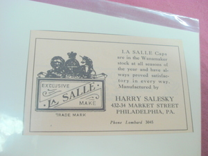 1924 Ad La Salle Caps Philadelphia, Pa. Harry Salesky