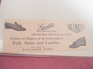 1924 Ad Lucille Felt Slipper Co., Inc. New York