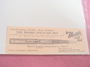 1923 Ad The Moore Fountain Pen Moore's Won't Leak