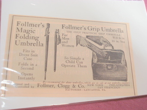 1923 Follmer's Grip Umbrella Ad Lancaster, Pa.