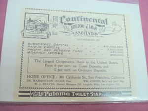 1905 Continental Building & Loan Assoc of California Ad