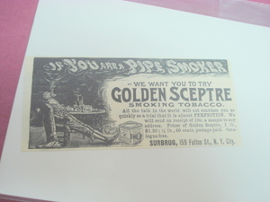 1894 Golden Sceptre Smoking Tobacco Ad Surbrug, NYC
