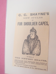 1889 Illustrated Ad C. C. Shayne's Fur Shoulder Capes