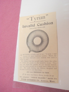 1893 Invalid Cushion Ad Tyer Rubber Co., Andover, Mass.
