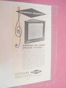 1951 Stephens Tru-Sonic Speakers Ad Culver City, Cal.