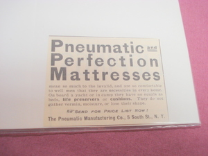 1905 Pneumatic and Perfection Mattresses Ad N.Y.