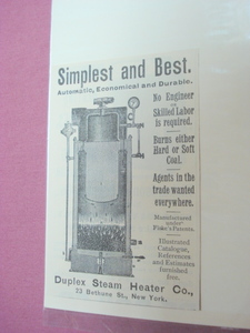 1889 Ad Duplex Steam Heater Co., N.Y. Simplest & Best