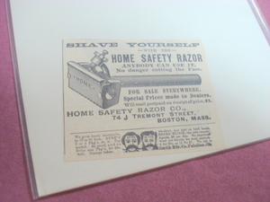 1889 Illustrated Ad Home Safety Razor Co. Boston, Mass