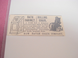 1889 Ad New Haven Chair Co. Bath Cabinet, Rolling Chair