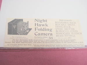 1894 Ad-Night Hawk Folding Camera, Manhattan Optical Co