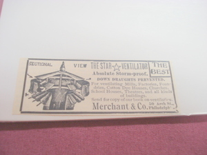 1894 Ad The Star Ventilator Merchant & Co., Philadelphia
