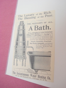 1894 Illustrated Ad Douglas Instantaneous Water Heater