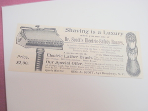 1894 Illustrated Ad Dr. Scott's Electric Safety Razors