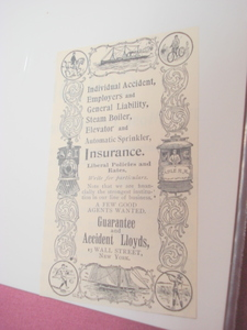 1894 Ad Guarantee and Accident Lloyds, N. Y. Insurance