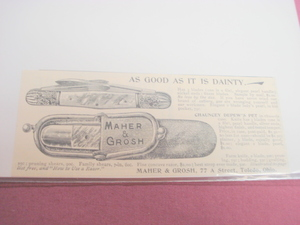 1894 Pocket Knife Ad-Maher & Grosh-Toledo, Ohio