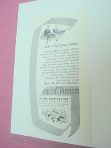 1951 Ad The Gideon Putnam Spa, Saratoga Springs, N. Y.