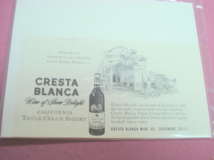 1951 Cresta Blanca California Wine Ad