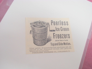 1894 Ad Peerless Ice Cream Freezers Cincinnati, Ohio