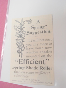 1894 Ad Spring Shade Roller Nevius & Haviland, New York