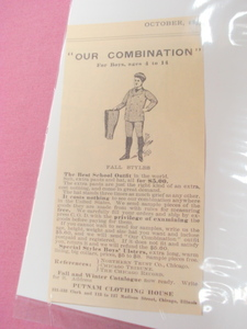 1893 Putnam Clothing House Ad Boy's School Outfits