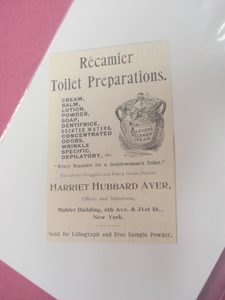 1894 Ad Recamier Toilet Preparations Ayer's Cream
