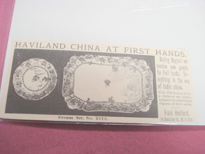 1889 Ad Haviland China, Frank Haviland, N.Y.C.