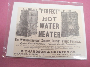 1889 Ad Perfect Hot Water Heater Richardson & Boynton