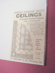1894 Ad A. Northrop & Co. Pittsburg, Pa. Metal Ceilings