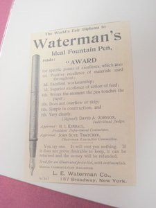 1894 Ad-Waterman's Fountain Pen, L. E. Waterman Co.