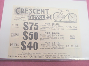 1894 Ad Crescent Bicycles Western Wheel Works