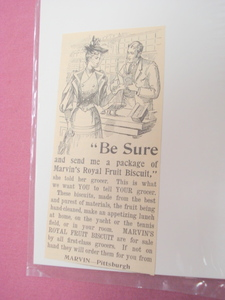 1893 Marvin's Royal Fruit Biscuit Illustrated Ad
