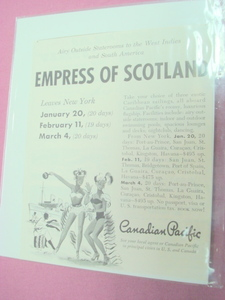 Empress of Scotland Canadian Pacific Cruise Ship Ad