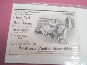 Southern Pacific Steamships Early 1900's Vintage Ad