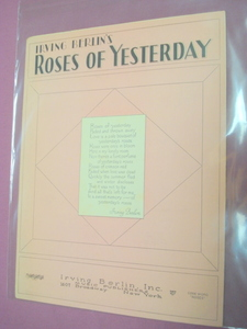 Roses of Yesterday Irving Berlin Sheet Music 1928