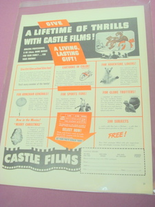 1941 Ad Castle Films Lifetime of Thrills