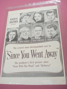 1944 Movie Ad Since You Went Away Shirley Temple