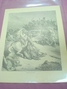 1880 Illustrated Bible Page Death of Saul