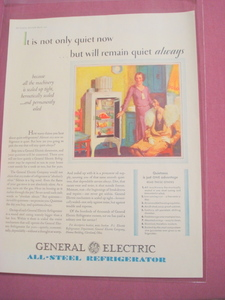 1930 General Electric All-Steel Refrigerator Color Ad