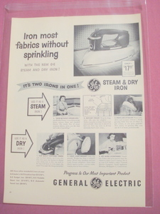 1955 General Electric Steam & Dry Iron Ad G.E.