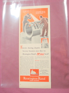 1939 Remington Rand Shaver Ad New York World's Fair