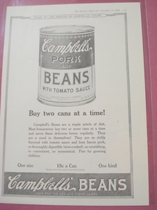 1919 Campbell's Pork And Beans Ad