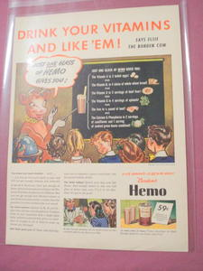 1942 Borden's Hemo Chocolate Drink Ad Elsie the Cow