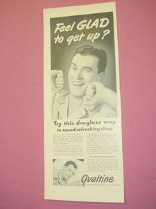 1949 Ovaltine Drugless Sleep Ad