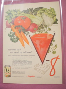 1955 Campbell's V-8 Vegetable Juice One Page Color Ad